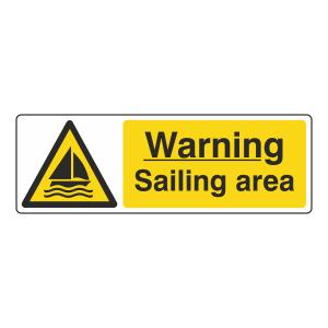 Warning Sailing Area Sign (Landscape)