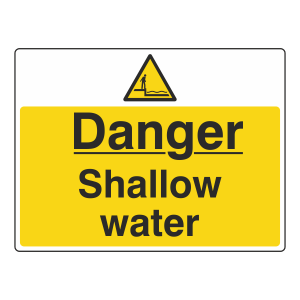 Danger Shallow Water Sign (Large Landscape)