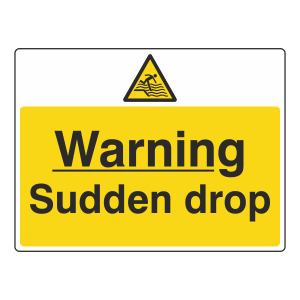 Warning Sudden Drop Sign (Large Landscape)