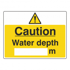 Caution Water Depth Sign (Large Landscape)