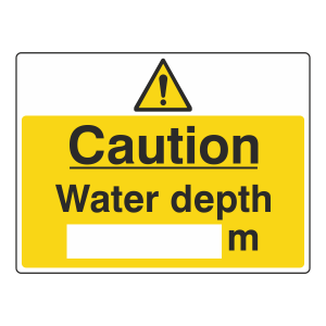 Caution Water Depth Sign (Large Landscape)