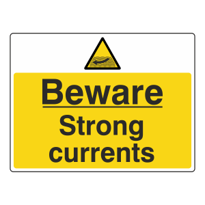 Beware Strong Currents Sign (Large Landscape)