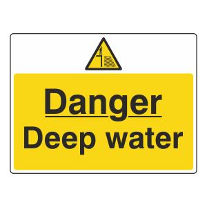 Danger Deep Water Sign (Large Landscape)