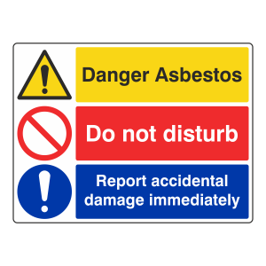Asbestos / Do Not Disturb / Report Damage Sign (Large Landscape)
