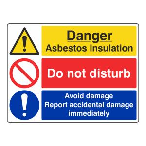 Asbestos Insulation / Do Not Disturb / Avoid Damage Sign (Large Landscape)