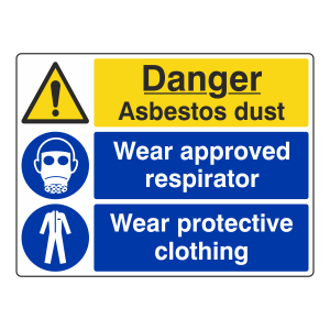 Asbestos Dust / Respirator / Clothing Sign (Large Landscape)