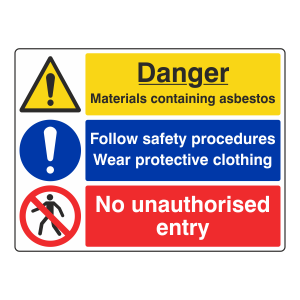 Asbestos / Safety Procedures / No Entry Sign (Large Landscape)