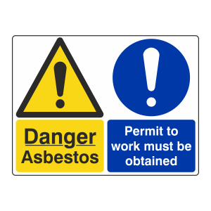 Asbestos / Permit To Work Must Be Obtained Sign (Large Landscape)