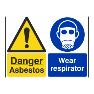 Danger Asbestos / Wear Respirator Sign (Large Landscape)