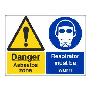 Asbestos Zone / Respirator Must Be Worn Sign (Large Landscape)