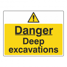 Danger Deep Excavations Sign (Large Landscape)