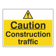 Caution Construction Traffic Sign (Large Landscape)