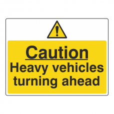 Caution Heavy Vehicles Turning Ahead Sign (Large Landscape)