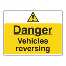 Danger Vehicles Reversing Sign (Large Landscape)