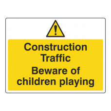Construction Traffic Beware Of Children Playing Sign (Large Landscape)