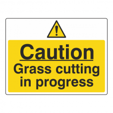Caution Grass Cutting In Progress Sign (Large Landscape)