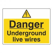 Danger Underground Live Wires Sign (Large Landscape)