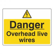 Danger Overhead Live Wires Sign (Large Landscape)
