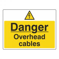 Danger Overhead Cables Sign (Large Landscape)