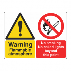 Flammable Atmosphere / No Smoking Sign (Large Landscape)