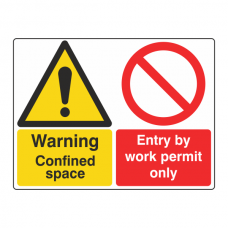 Confined Space / Entry By Work Permit Only Sign (Large Landscape)
