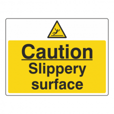 Caution Slippery Surface Sign (Large Landscape)