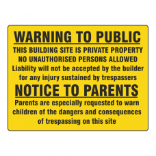 Warning To Public / Notice To Parents Sign (Large Landscape)