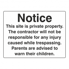 Notice This Site Is Private Property Sign (Large Landscape)