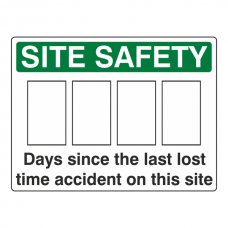Days Since Last Lost Time Accident Sign (Large Landscape)