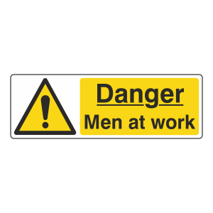Danger Men At Work Sign (Landscape)