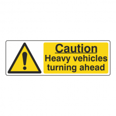 Caution Heavy Vehicles Turning Ahead Sign (Landscape)