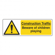 Construction Traffic Beware Of Children Playing Sign (Landscape)