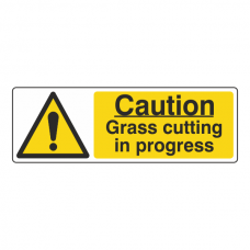 Caution Grass Cutting In Progress Sign (Landscape)
