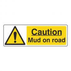 Caution Mud On Road Sign (Landscape)