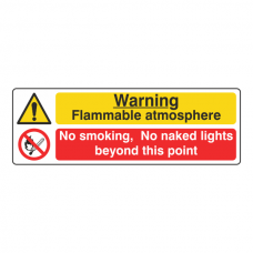 Flammable Atmosphere / No Smoking Sign (Landscape)
