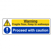Fragile Floor / Proceed With Caution Sign (Landscape)