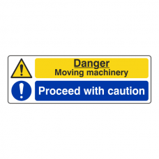 Moving Machinery / Proceed With Caution Sign (Landscape)