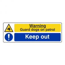 Warning Guard Dogs On Patrol / Keep Out Sign (Landscape)