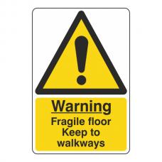 Fragile Floor Keep To Walkways Sign