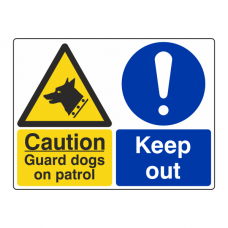 Guard Dogs On Patrol / Keep Out Sign (Large Landscape)