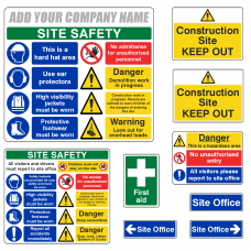 Construction Site Safety Sign Complete Pack 1 with Free Company Name