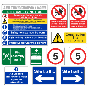 Construction Site Safety Sign Complete Pack 2 with Free Company Name