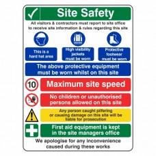 Multi-Hazard Site Safety Maximum Speed Sign