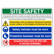 Multi Hazard Site Safety Protective Footwear Sign (Large Landscape)