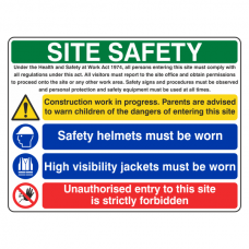 Multi-Hazard Site Safety Hi Viz Jackets Sign (Large Landscape)