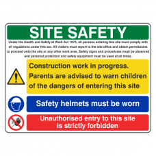 Multi-Hazard Site Safety Safety Helmet Sign (Large Landscape)
