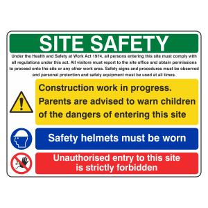 Multi-Hazard Site Safety Safety Helmet Sign (Large Landscape)