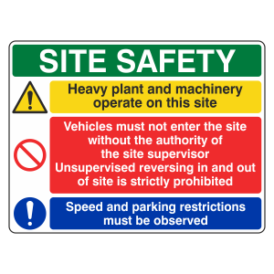 Multi-Hazard Site Safety Heavy Plant Sign (Large Landscape)