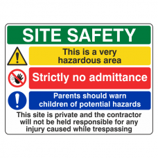 Multi-Hazard Site Safety Very Hazardous Area Sign (Large Landscape)