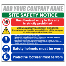 Multi-Hazard Site Safety 5 Point Sign (Large Landscape)